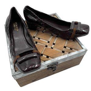 FRANCO SARTO Brown Leather Croc Emboss Heels Pumps